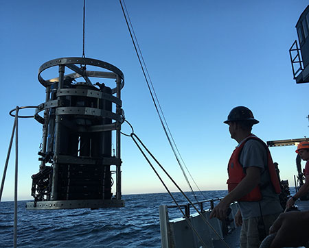 Launching a CTD Rosette is a team effort. (Credit: Sarah Yang)